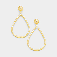 Brass Metal Ball Teardrop Hoop Dangle Earrings