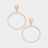 Brass Metal Ball Hoop Dangle Earrings