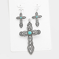 Antique Metal Cross Turquoise Accented Magnetic Pendant Set