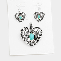 Antique Metal Heart Turquoise Accented Magnetic Pendant Set