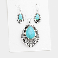 Antique Teardrop Turquoise Accented Magnetic Pendant Set