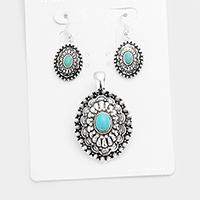 Antique Oval Turquoise Accented Magnetic Pendant Set