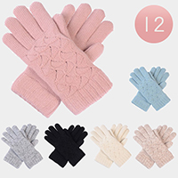 12 Pairs Soft Knit Double Layers Fur Lining Gloves