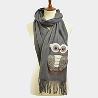 Faux Fur Owl Patch Fringe Tassel Scarf