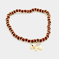 Beaded Rhinestone Elephant Charm Stretch Bracelet