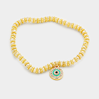 Evil Eye Charm Beaded Stretch Bracelet