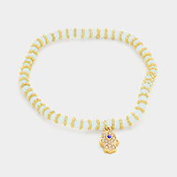 Hamsa Charm Beaded Stretch Bracelet