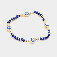 Beaded Evil Eyes Stretch Bracelet