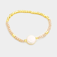 Beaded Freshwater Pearl Stretch Bracelet
