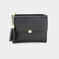 Faux Leather Tassel Snap Button Closure Wallet