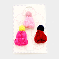 3PCS Cable Knit Pom Pom Beanie Pin Brooch