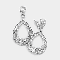 Rhinestone Cut Out Teardrop Clip on Earrings
