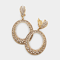 Rhinestone Cut Out Oval Clip on Earrings