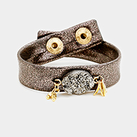 Oval Faux Druzy Metal Dangle Snap Button Bracelet