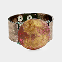 Painted Round Metal Faux Leather Snap Button Bracelet
