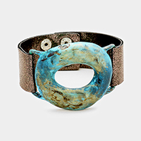 Painted Cut Out Oval Metal Faux Leather Snap Button Bracelet
