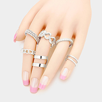 7PCS Mixed Cut Out Metal Rings