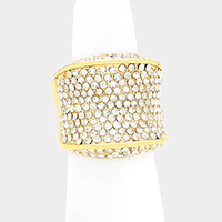Wide Pave Crystal Rhinestone Stretch Ring