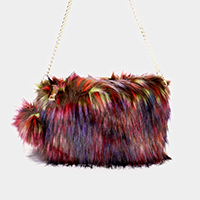 Furry Pom Pom Clutch Bag