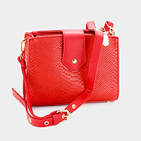 Crocodile Skin Lock Crossbody Bag