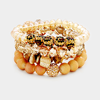 4 Layers Multi Beaded Shamballa Accented Stretch Bracelet