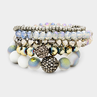 5PCS Multi Beaded Shamballa Accented Stretch Bracelet