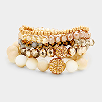5 Layers Multi Beaded Shamballa Accented Stretch Bracelet