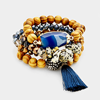 3 Layers Wood Beaded Shamballa Accented Tassel Stretch Bracelet