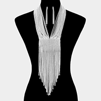 Metal Mesh Fringe Bib Necklace