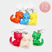 12PCS Faux Leather Cat Key Chains