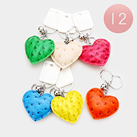 12PCS Faux Leather Heart Key Chains