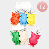 12PCS Faux Leather Owl Key Chains