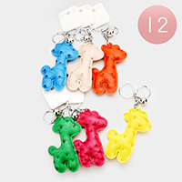 12PCS Faux Leather Giraffe Key Chains