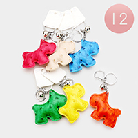 12PCS Faux Leather Dog Key Chains