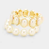2 Layers Pearl Beaded Stretch Bracelet