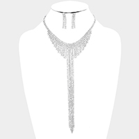 Pave Crystal Rhinestone Y shaped Necklace