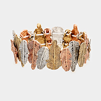 Metal Feather Stretch Bracelet