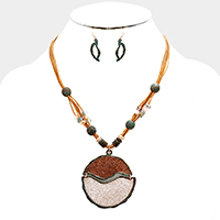 Layered Cord Glittered Two Tone Round Pendant Necklace
