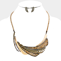 Stone Cluster Metal Crescent Statement Necklace
