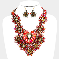 Floral Glass Bead Statement Bib Necklace
