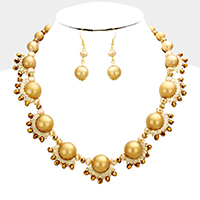 Woven Glass Beaded Metal Ball Statement Necklace