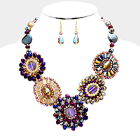 Multi Glass Beaded Disc Statement Necklace