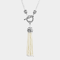 Antique Patterned Drop Pearl Tassel Toggle Necklace