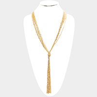 Multi Layered Knotted Metal Chain Y Shaped Necklace
