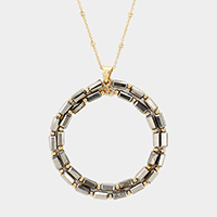 Beaded Double Hoop Pendant Long Necklace