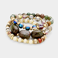 3 Layers Semi Precious Multi Beaded Stretch Bracelet