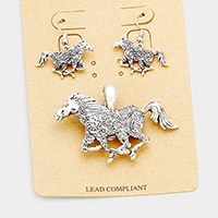 Antique Metal Running Horse Magnetic Pendant Set