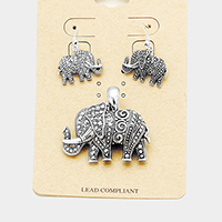 Antique Metal Elephant Magnetic Pendant Set
