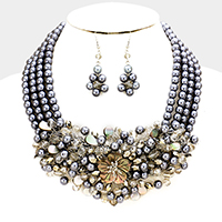 Floral Pearl Glass Bead Cluster Vine Statement Necklace