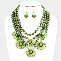 Layered Pearl Floral Glass Bead Bib Necklace
